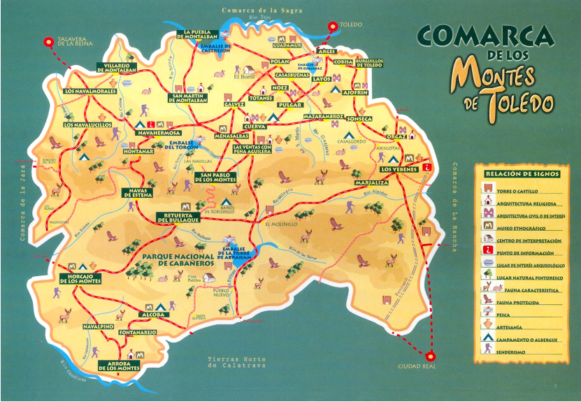 Mapa Politico De Toledo.Mapa De La Comarca Historica De Los Montes De Toledo